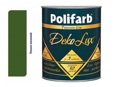 Алкидно-уретановая эмаль DekoLux для дерева и металла Polifarb глянцевая темно-зеленая