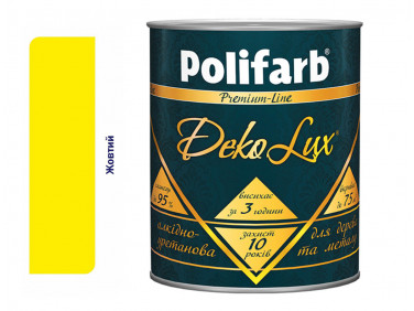Алкидно-уретановая эмаль DekoLux для дерева и металла Polifarb глянцевая желтая