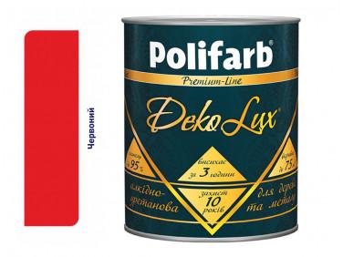 Алкидно-уретановая эмаль DekoLux для дерева и металла Polifarb глянцевая красная