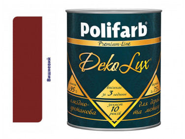 Алкидно-уретановая эмаль DekoLux для дерева и металла Polifarb глянцевая вишневая