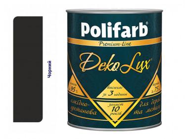 Алкидно-уретановая эмаль DekoLux для дерева и металла Polifarb глянцевая черная