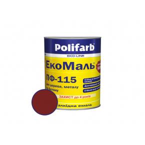 Атмосферостойкая эмаль для дерева и металла ЭкстраМаль ПФ-115 Polifarb глянцевая вишневая