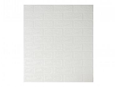 Самоклеющаяся декоративная 3D панель «Кирпич» белый №1 (5 мм)