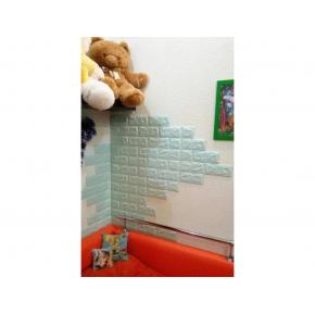 Самоклеящаяся декоративная 3D панель «Кирпич» 7 мм #2 бирюзовая - изображение 9 - интернет-магазин tricolor.com.ua