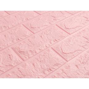 Самоклеящаяся декоративная 3D панель «Кирпич» 7 мм #4 розовая - изображение 2 - интернет-магазин tricolor.com.ua