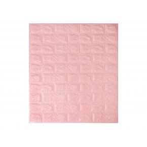 Самоклеящаяся декоративная 3D панель «Кирпич» 7 мм #4 розовая