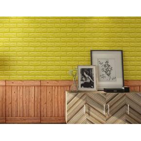 Самоклеящаяся декоративная 3D панель «Кирпич» 7 мм #10 желтая - изображение 2 - интернет-магазин tricolor.com.ua