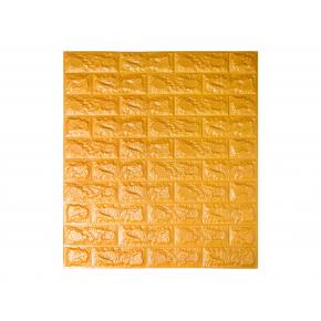 Самоклеящаяся декоративная 3D панель «Кирпич» 7 мм #11 золотая - интернет-магазин tricolor.com.ua