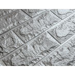 Самоклеящаяся декоративная 3D панель «Кирпич» 7 мм #17 серебряная - изображение 2 - интернет-магазин tricolor.com.ua