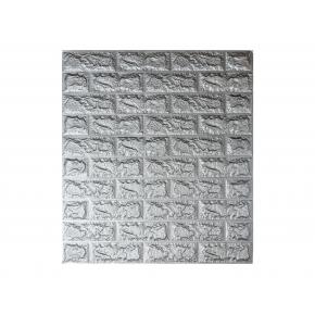 Самоклеящаяся декоративная 3D панель «Кирпич» 7 мм #17 серебряная - интернет-магазин tricolor.com.ua