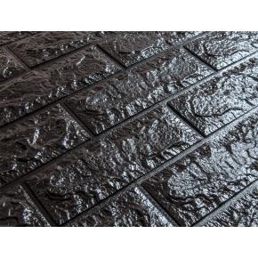 Самоклеящаяся декоративная 3D панель «Кирпич» 7 мм #19 черная - изображение 2 - интернет-магазин tricolor.com.ua