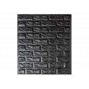 Самоклеящаяся декоративная 3D панель «Кирпич» 7 мм #19 черная - интернет-магазин tricolor.com.ua