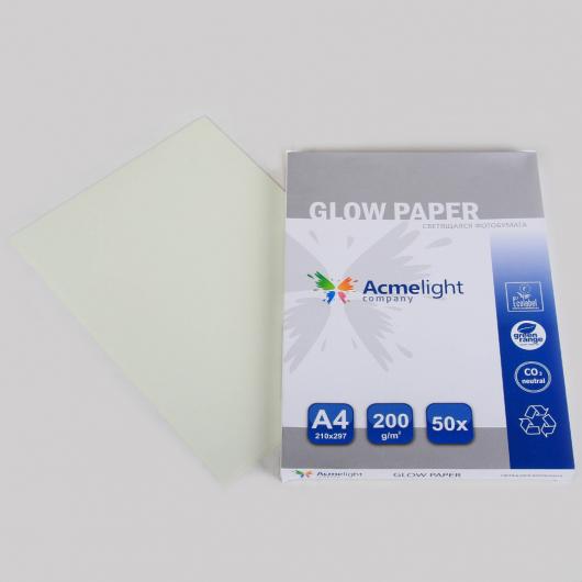 Светящаяся люминесцентная бумага А4 AcmeLight голубое свечение - изображение 2 - интернет-магазин tricolor.com.ua