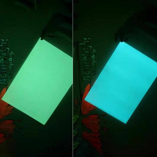 Светящаяся люминесцентная бумага А4 AcmeLight голубое свечение - изображение 5 - интернет-магазин tricolor.com.ua
