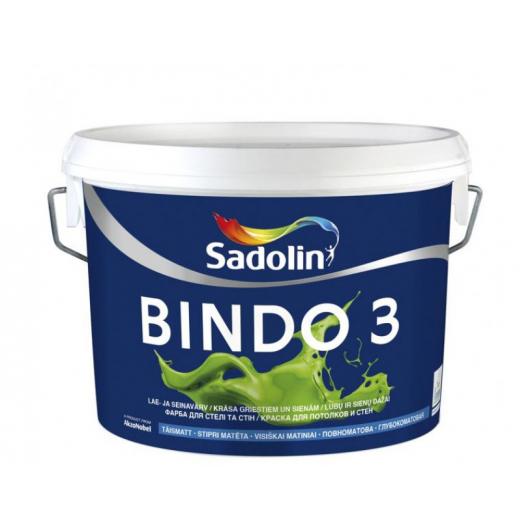 Краска для потолка и стен Sadolin Bindo 3 белая глубокоматовая - интернет-магазин tricolor.com.ua