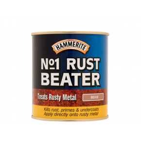Краска-грунт антикоррозийная Hammerite №1 Rustbeater коричневая по черному металлу