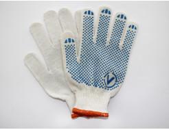 Перчатки трикотажные Бук с ПВХ точкой 8410 белые