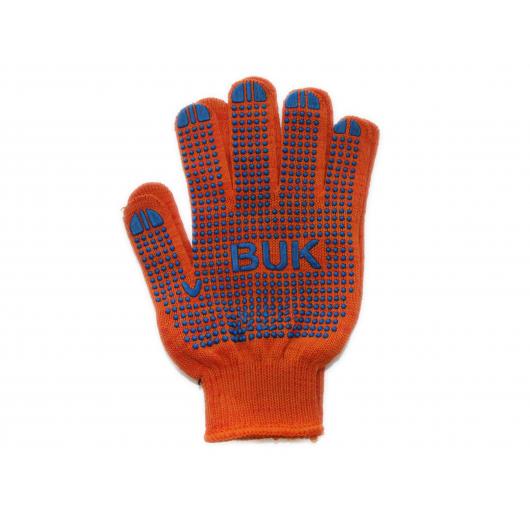 Перчатки трикотажные Бук с ПВХ точкой 8412 оранжевые - изображение 4 - интернет-магазин tricolor.com.ua