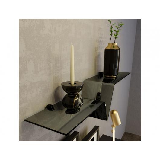 Стеклянная полка в форме V зеркально-черная, без крепления (8/200 мм) - изображение 2 - интернет-магазин tricolor.com.ua