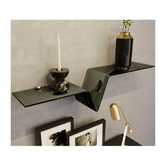 Стеклянная полка в форме V зеркально-черная, без крепления (8/200 мм) - интернет-магазин tricolor.com.ua
