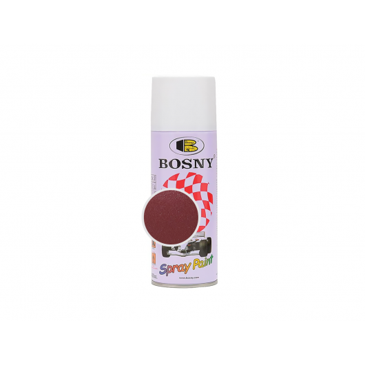 Аэрозольная акриловая краска Bosny c эффектом металлик красно-розовая